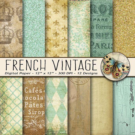 French Vintage Digital Paper, Old Paper Digital Paper, Paris Scrapbook, French Paper Pack, Parisian Wallpaper, Vintage Paper, Fleur de Lis