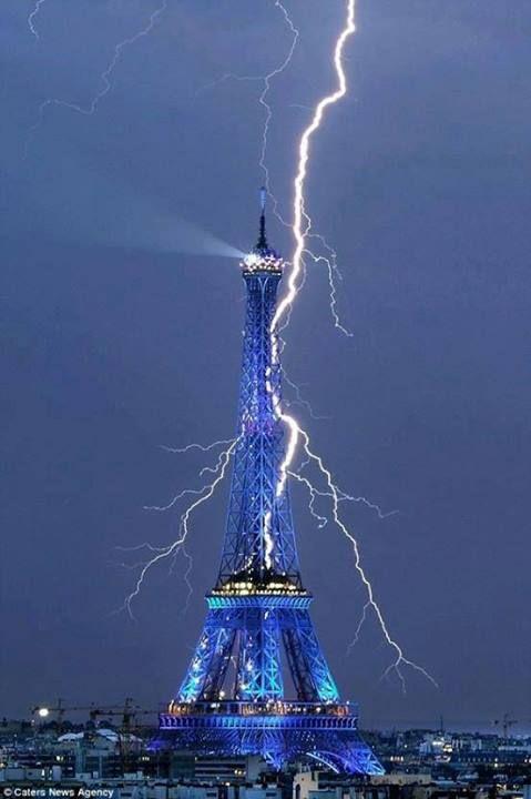 Eiffel Tower getting struck by lightning