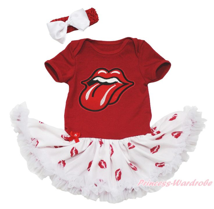 >> Click to Buy << Red Mouth Tongue Bodysuit Girls White Lip Baby Dress Jumpsuit Outfit Set NB-18M MAJSA0678 #Affiliate