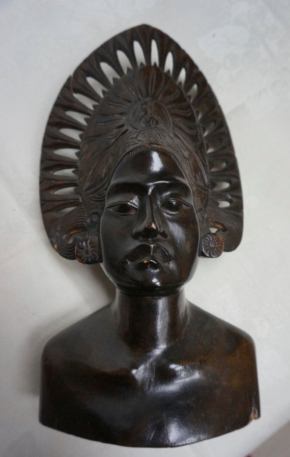 SOUTH SEA ISLAND sculpture carved wooden bust by blingblingfling