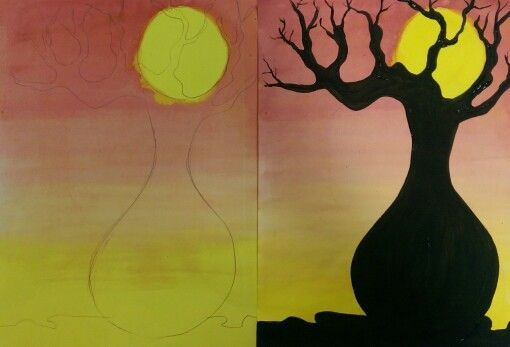 Boab Trees - silhouettes & sunsets - Year 4. Ink and acrylic paint. www.onceuponanartroom.com