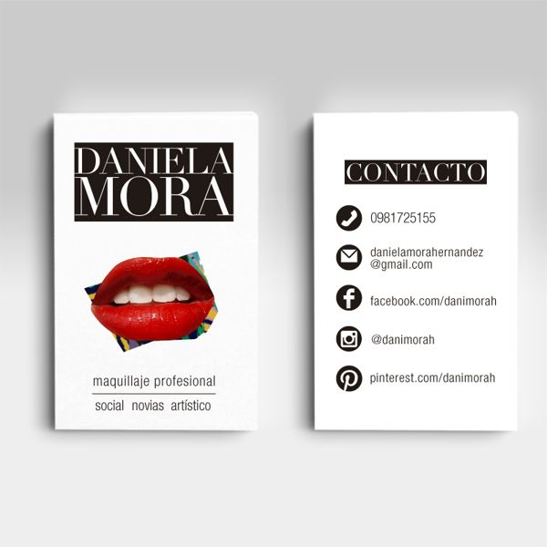 Tarjetas de presentación // Maquillaje by Daniela Mora, via Behance. #professional #makeup #artist #red #lips #bussiness #card