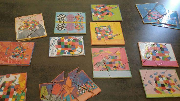 Des puzzles Elmer réalisés grâce aux modèles de Validées.