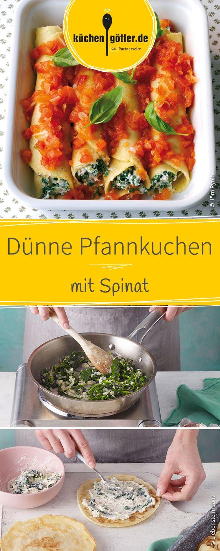 Ein köstliches Gericht, welches in nu 5 Schritten zubereitet ist. Gefüllt mit einer luftigen Spinat-Creme werden die dünnen Pfannkuchen mit Tomaten überbacken.