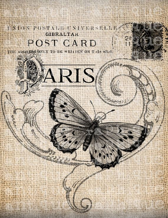 Antique French Butterfly Paris Postmark Digital Download for Tea Towels, Papercrafts, Transfer, Pillows, etc Burlap No 3305. $1