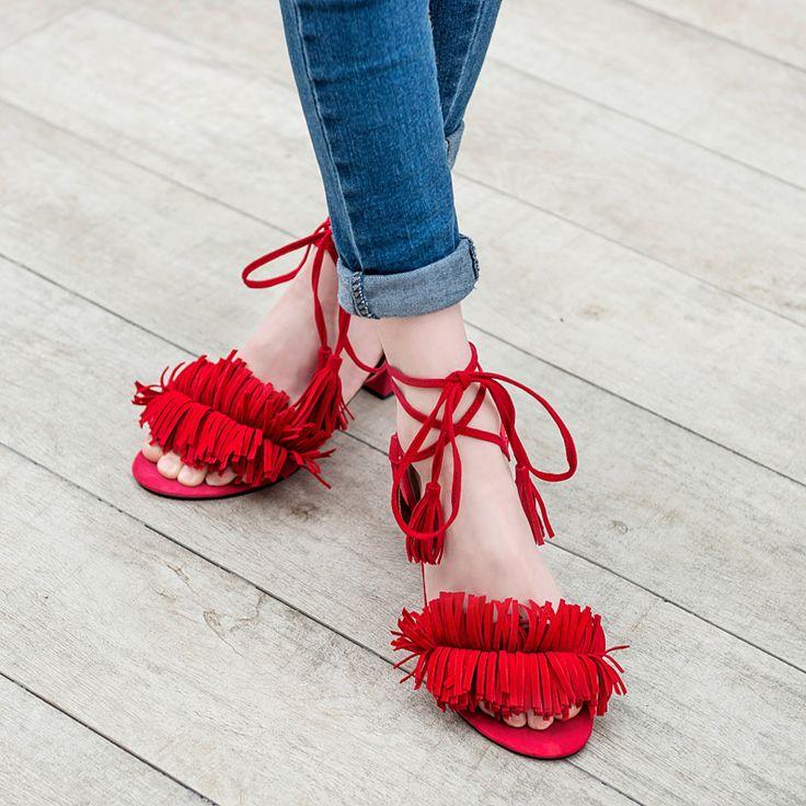 Купить товарМода женщин Sandals2016 новинка лодыжки анти обертывание кисточкой Med квадратные каблуки высокое качество женщин летние сандалии обувь K243 в категории Сандалиина AliExpress.     Примечание:  Пожалуйста, выберите размер зависит от длины ноги из наших размер диаграммы, спасибо. Если ваши ноги не