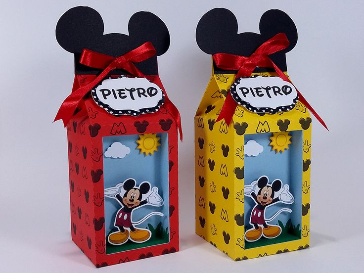 Caixinha de leite com visor no tema Mickey pra deixar a criançada ainda mais animada. Festa Mickey