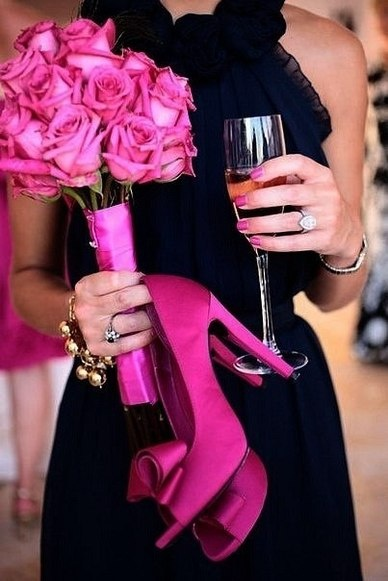 ♥: Pink Wedding, Wedding Ideas, Weddings, Dress, Bridesmaid, Hot Pink, Navy