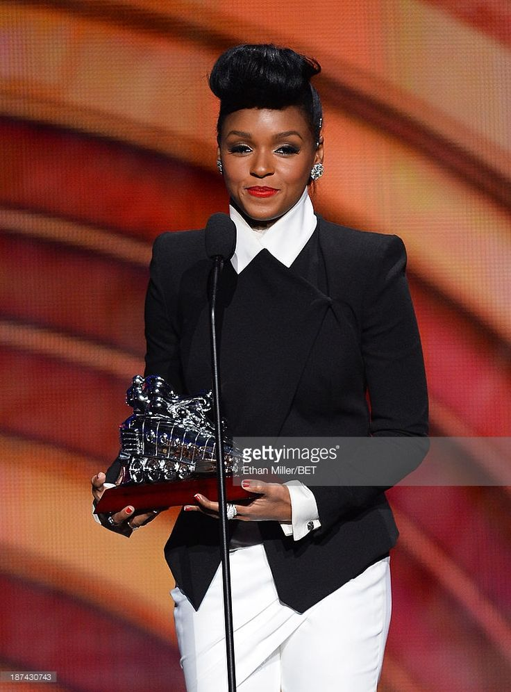 Musician Janelle Monae accepts the Video of the Award for 'Q.U.E.E.N.' onstage at the Soul Train Awards 2013 at the Orleans Arena on November 8, 2013 in Las Vegas, Nevada.
