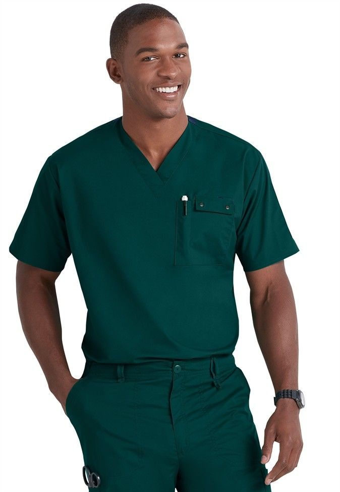 WonderWink WonderFlex Honor mens utility media top | Scrubs and Beyond #green #uniform