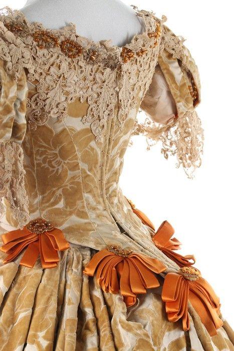 A rare Charles Frederick Worth historically-inspired voided velvet ball gown, 1885-8
