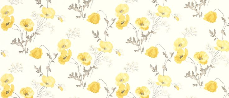 A stunning floral wallpaper depicting beautiful blooming poppies in bright yellow.
