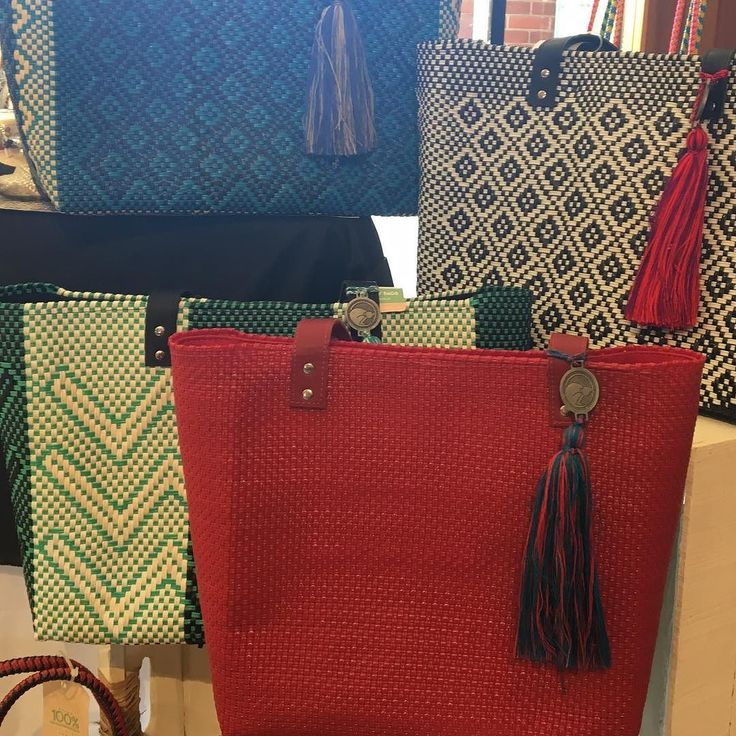 Found these gorgeous handmade recycled plastic bags - perfect for the beach or carry-all. Should we bring some stateside?