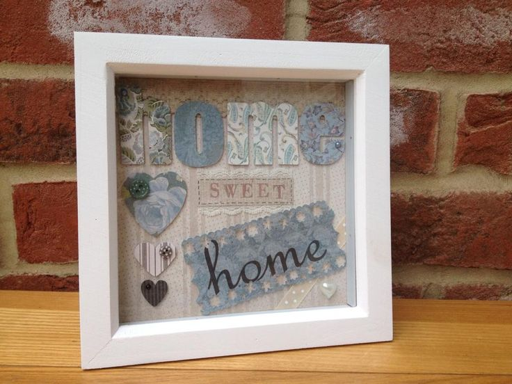 "Home Sweet Home picture in blue.  Can be made in any colour.  Frame size 6x6"". Made to order. £14 + £4 p&p"