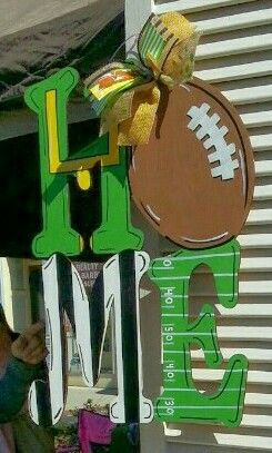 HOME Wooden Door Hanger  with Football ● Football Wooden Door Hanger ● Craft Night Out at Pumpkin Fest @Statesville NC