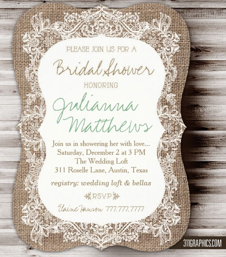 Rustic Burlap Lace Bridal Shower, burlap, rustic, lace, country chic, south, burlap bridal shower invitations