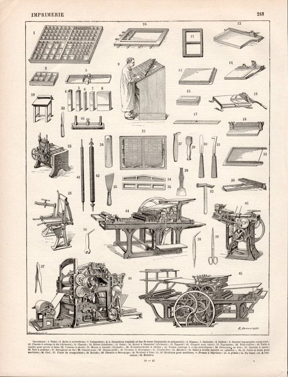 1897 Printing Press Antique Print Vintage by Craftissimo on Etsy