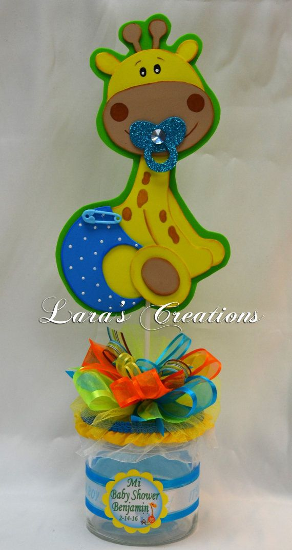 Beautiful centerpieces for Baby Shower. Jungle Baby Animals, made with foam sheet on a glass base, decorated with ribbons. If you want a color change send a message first, and the information you want on the card The price is for one centerpiece.