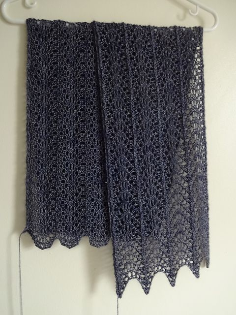 Knitting Gauge Definition : The pattern is a modified feather and fan with curves of