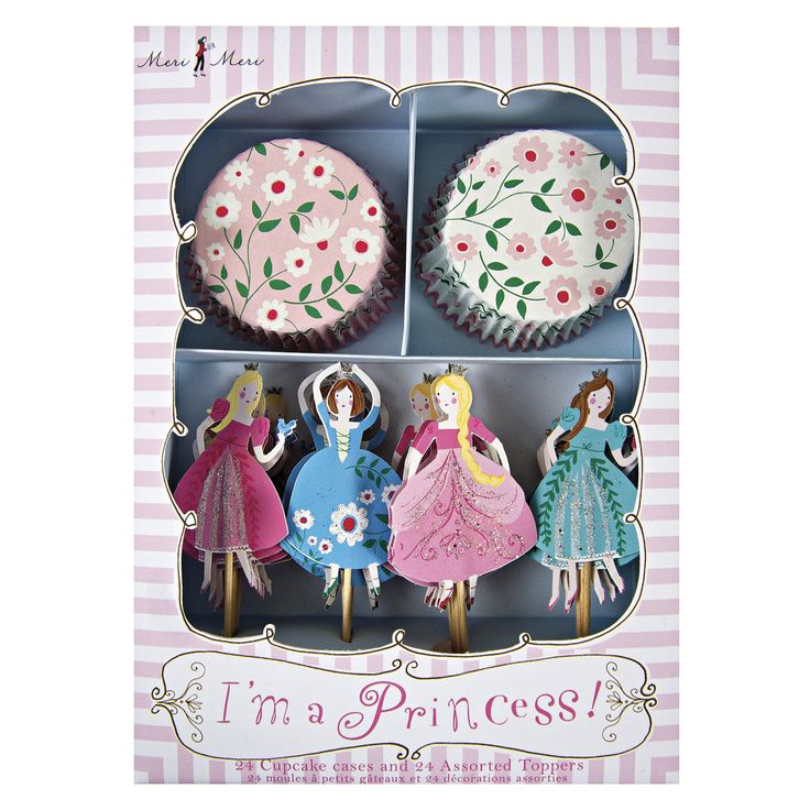 I'm a Princess Cupcake Kit ~  You are cordially invited to a Princess Party where the speciality of the day will be - cupcakes!   This cupcake decoration kit includes two styles of bake case with charming floral patterns and four styles of cake topper each with a different princess character.  Set contains 24 cupcake cases in 2 styles and 24 toppers in 4 styles.   £10.00