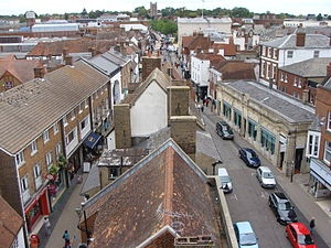 French Row (to the left) and Market Place (to the right) - St Albans, Hertfordshire, England