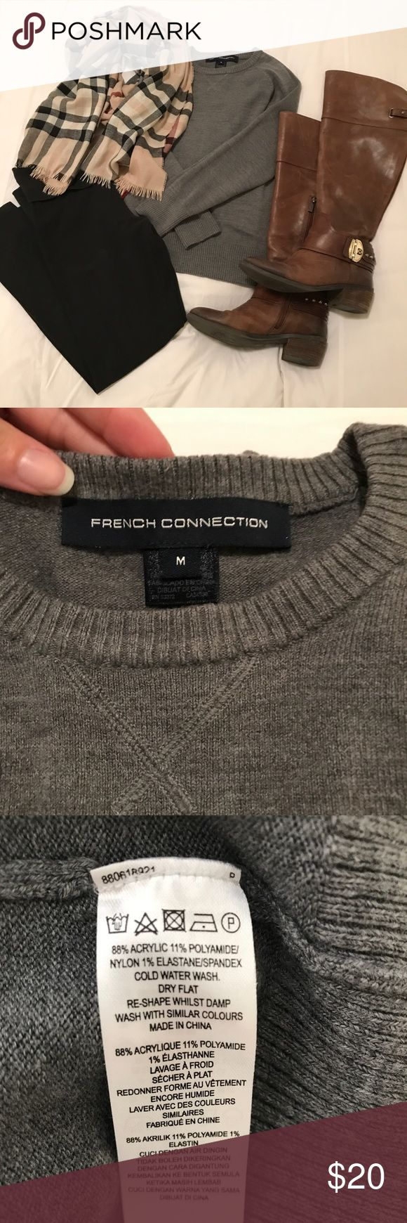 French Connection Sweater French Connection gray sweater.  Great soft material.  Very versatile.   Pairs great with skinny jeans, boots & a scarf or with a great statement necklace and skirt. French Connection Sweaters Crew & Scoop Necks