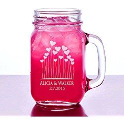 Hearts Romantic Couples Valentines Gift Idea Engraved Mason Jar Beer Mug Personalized Drinking Glass Etched with Name and Date for Wedding, Engagement Anniversary Gift of Favor for Newlyweds Couple Etched Laser Engraved His and Hers Couple Gift Idea
