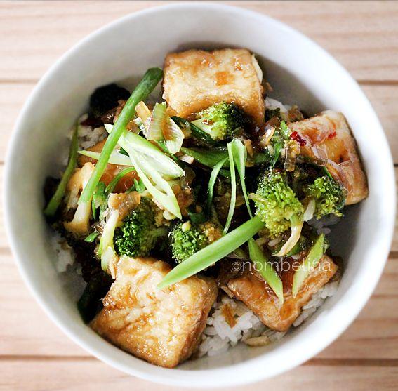 Tofu teriyaki and broccoli don