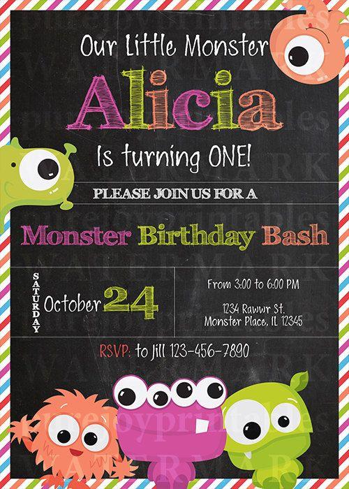 MONSTRUO para imprimir cumpleaños invitación  poca invitación