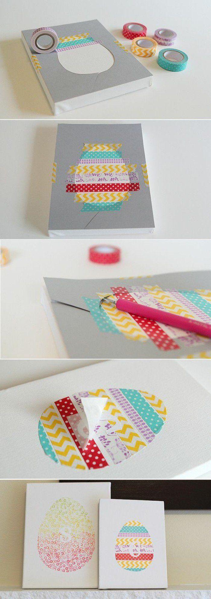des oeufs constitués de bandes de papier washi, idee que faire avec du masking tape, une belle deco de paques a faire soi meme