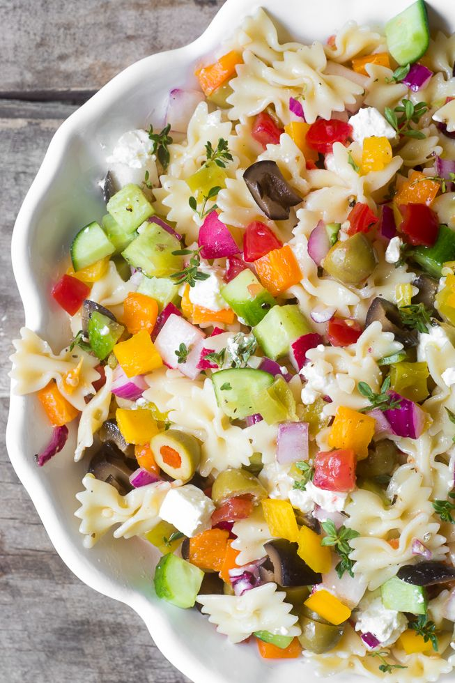 Chopped Israeli Pasta Salad is a healthy, veggie packed variation on your…