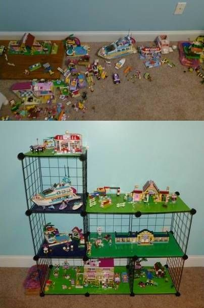 Lego Friends Organization - Was tired of seeing them all over my daughter's floor. Cut cardboard to fit wire shelving and covered it with wrapping paper to represent grass and water. She can lift them out of the shelves to play and then put them back up again. Now I can vacuum!