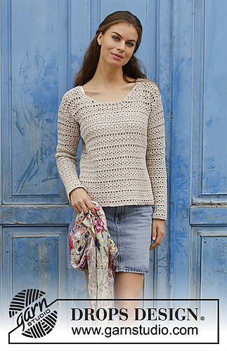 Crocheted jumper with lace pattern. Sizes S - XXXL. The piece is worked in DROPS Cotton Light.
