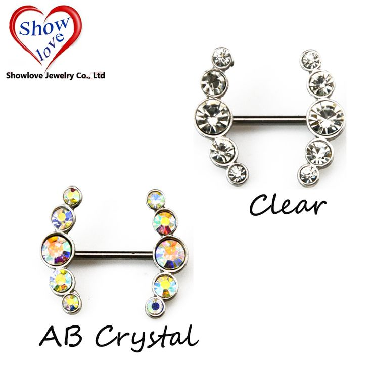 Showlove-PAIR Charming Surgical Steel Nipple Barbell Rings CZ Gem Nipple Bar Piercing 14G Body Jewelry Free Shipping