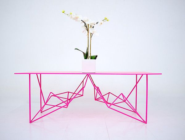 Neon Pink + Steel Geometric Coffee Table:  Moderncre8ve