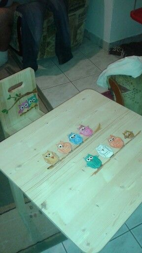 Owls :) wood burning, paint... little chair & table