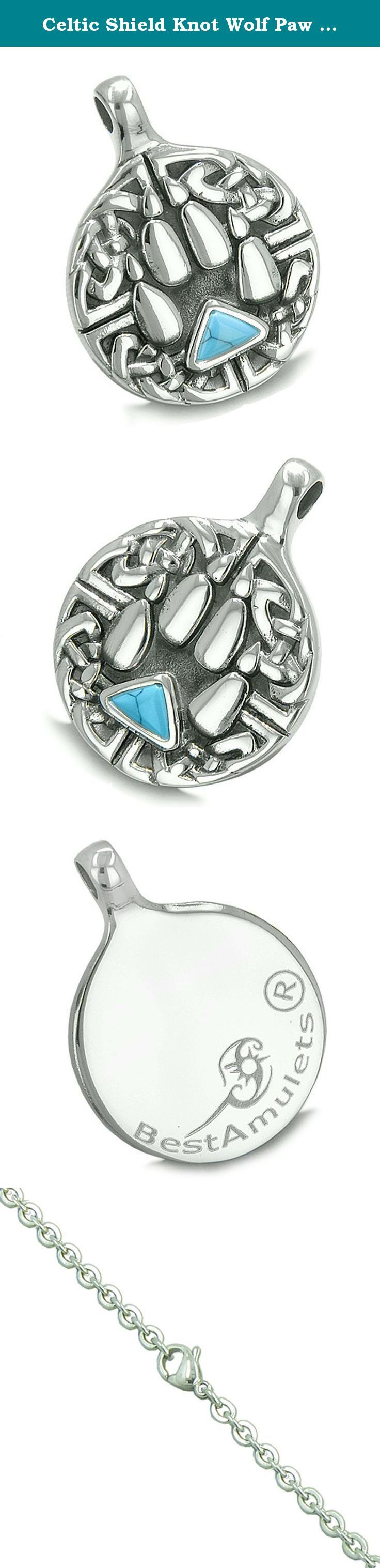 Celtic Shield Knot Wolf Paw Triangle Energy Simulated Turquoise Crystal Pendant 22 Inch Necklace. Absolutely Unique and One of the Kind Celtic Shield Knot and Wolf Paw Medallion Amulet. Made from Stainless Steel and will look stunning. The Paw accent is adorned with Cute Triangle Shape Simulated Turquoise Crystal and makes it Very Special and Attractive Individual Amulet. The Medallion is created with Antiqued Black Color overlay. Turquoise Crystal stands for Metaphysical properties of...