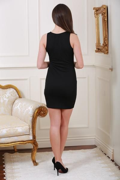 Donna Black Bodycon Dress with Rose Embroidery - LadyVB   s.r.o - 3