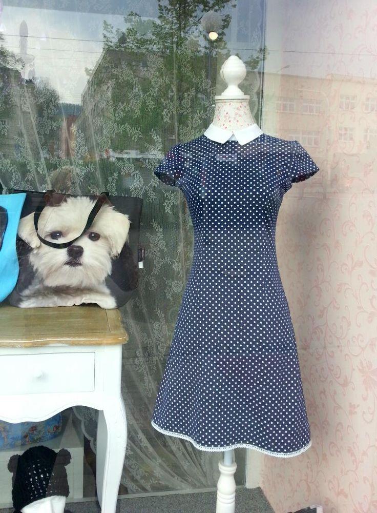 Šaty roztomilé s límečkem a puntíky - XS, S, M i L