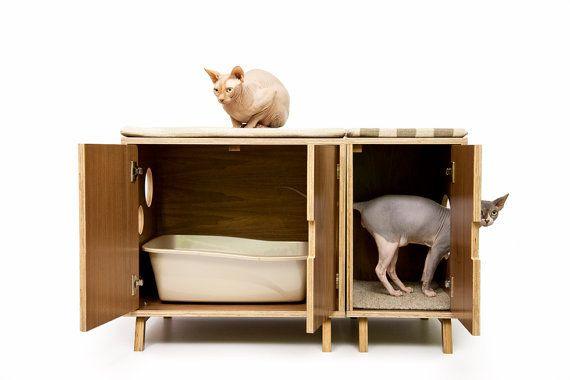 Great idea! Mid Century Modern Pet Furniture // Cat Litter Box by modernistcat, $999.00