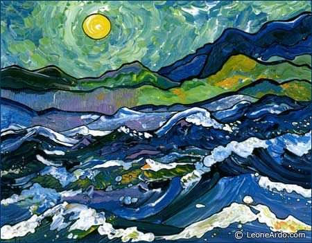 Seascape with a Van Gogh sky - Leone Ardo