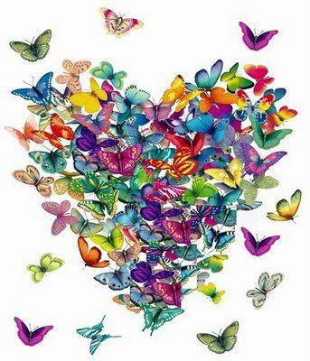 .Butterfly hearts and kisses