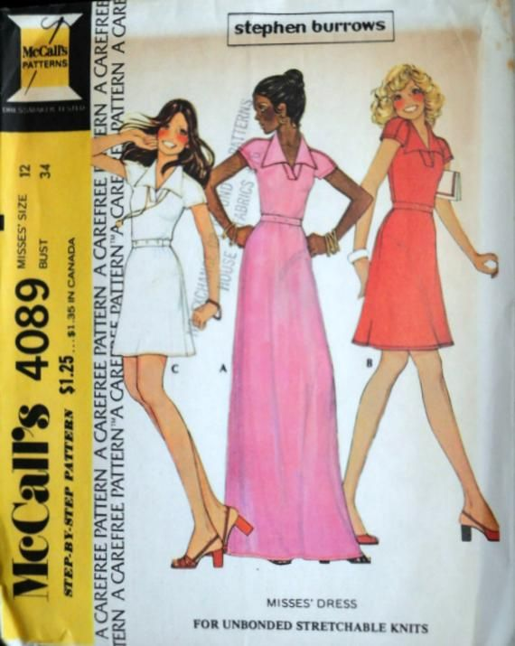 eb9be09a75917 Vintage 70 s McCall s 4089 Sewing Pattern Stephen Burrows Misses  Knit Dress  Maxi Evening Dress Size 12 34 Bust Uncut FF Retro 1970 s
