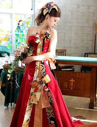 Awesome deconstructed kimono wedding gown