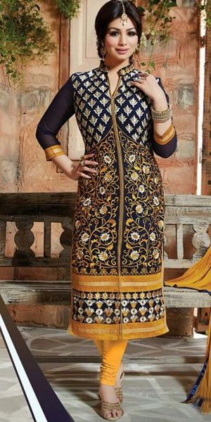Sizzling Yellow Georgette Straight Suit With Dupatta.