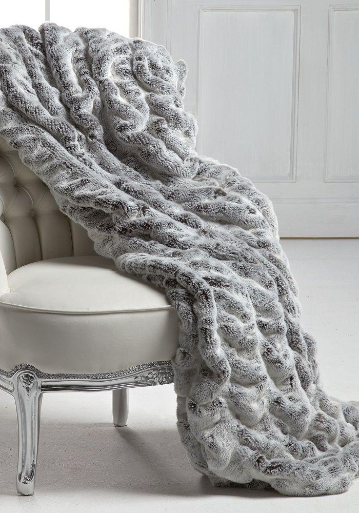 Luxury Fashion Designer Couture Grey Mink Faux Fur Throw Life Like Animal Fur Blankets So