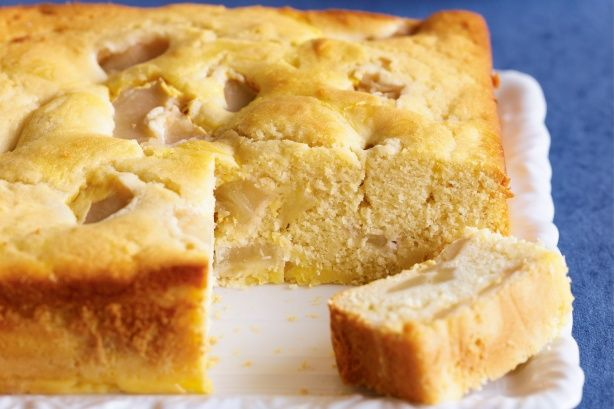 Custard and Apple Teacake ~ *homemade thick custard layered with *homemade pie apple (filling) in the cake batter and then baked m m m