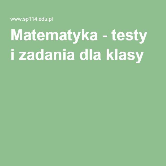 Matematyka - testy i zadania dla klasy 6