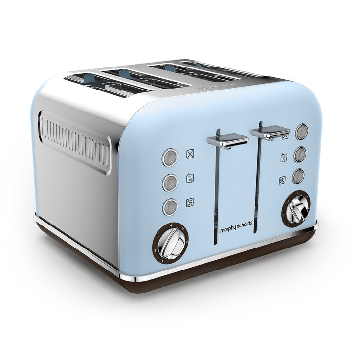 Celebrating our 80th anniversary, the Accents 4 slice toasters are available for a limited time in 3 special edition colours. Azure, shown here, is a delicate pale blue appliance to bring easy-on-the-eyes colour splashes to your kitchen.