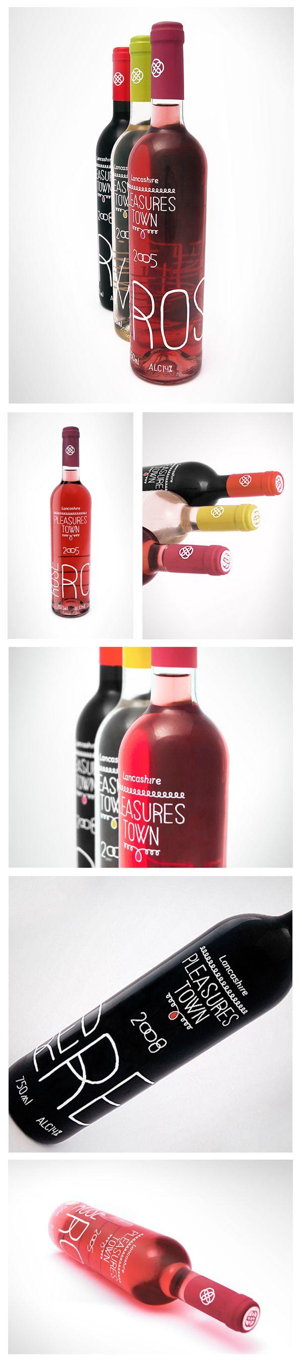 Pleasures Town Wines / Label Design by Dário P. Galichó, via Behance